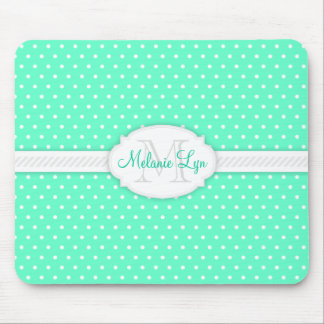 Minty Mint Green - Custom Monogram and Name Mouse Pad