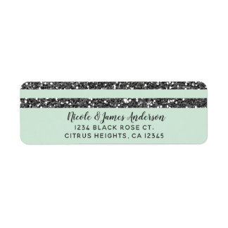 Minty Mint Green & Silver Glitter Stripes Party Label
