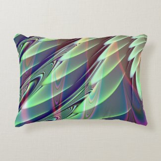 Minty Pleasure Fractal Accent Pillow