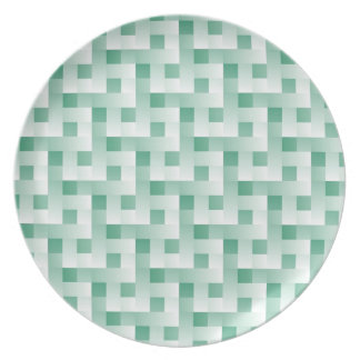 Minty Squares Pattern Plate