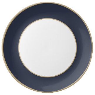 Minuit Blue Midnight Dark Blue French Chateau Dinner Plate