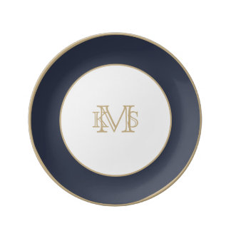 Minuit Blue Midnight Dark Blue French Chateau Porcelain Plate