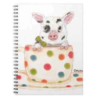 """""""Minúsculo"""" el cerdo de la taza de té Notebook"""