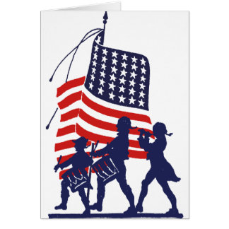 Minute Men and American Flag Card