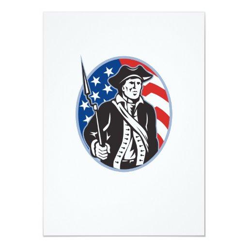"""Minuteman americano del patriota con el rifle de invitación 4.5"""" x 6.25"""""""