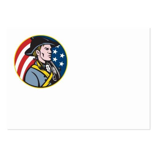 Minuteman americano del patriota con la bandera re plantillas de tarjeta de negocio