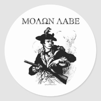 Minuteman de Molon Labe Pegatina Redonda