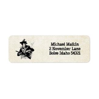 Minuteman revolucionario de la guerra etiquetas de remite