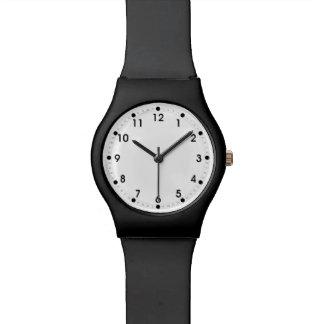 Minutos blancos negros llanos y números de la segu relojes de pulsera