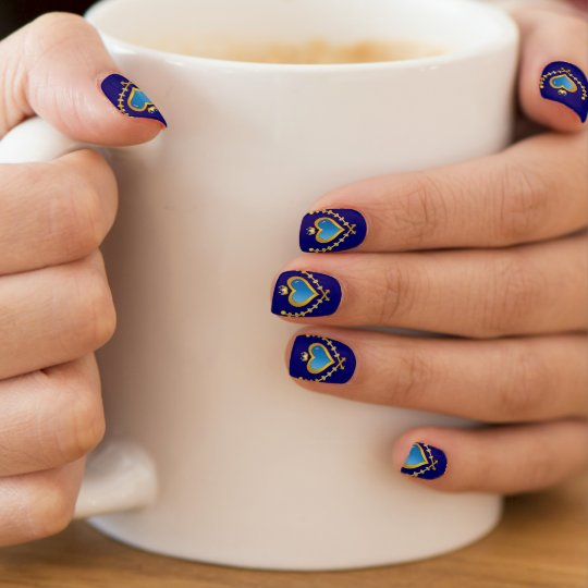 Minx Nails Elegant Emblem Heart With Gold And Blue Nail Art
