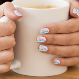 Minx nails shabby chic pink and mint roses  	Minx® nail art
