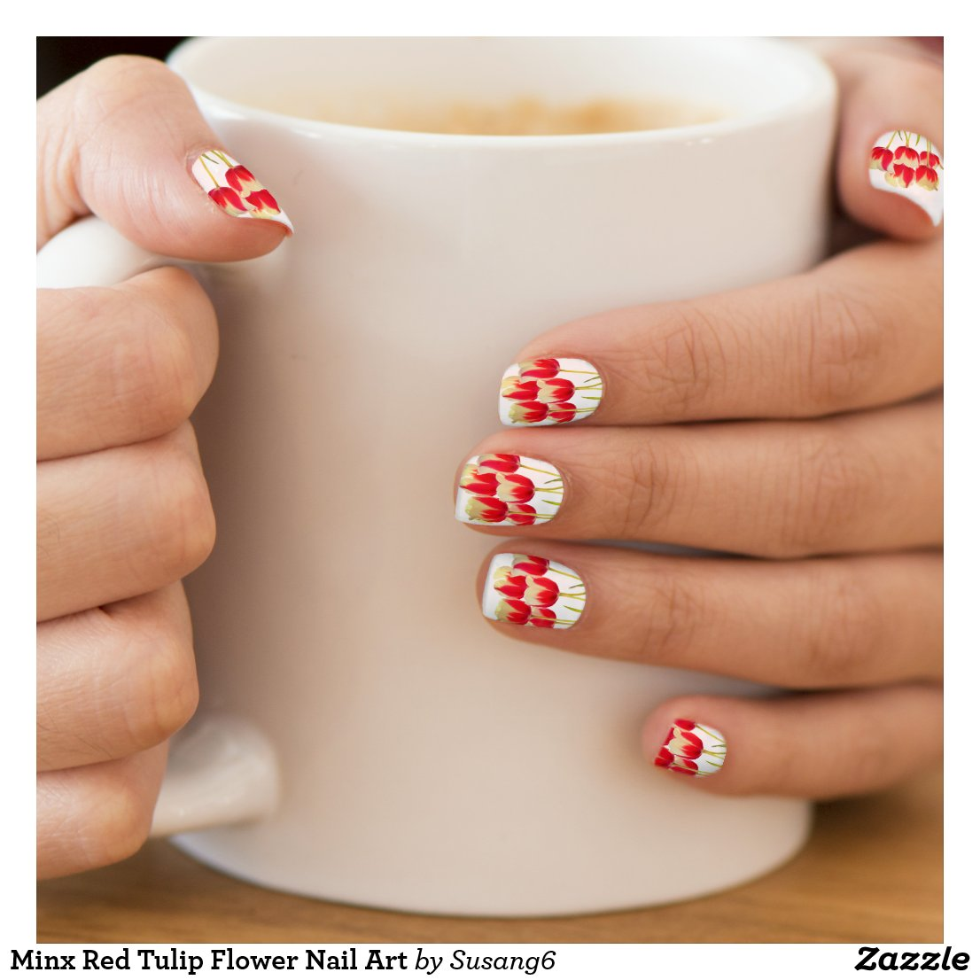 Minx Red Tulip Flower Nail Art