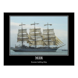 Mir Russian Training Sailing Ship Vintage Poster