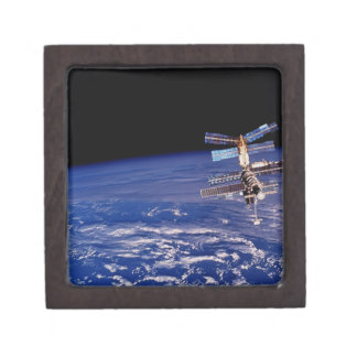 Mir Space Station floating above the Earth Jewelry Box