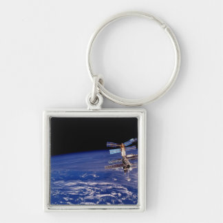Mir Space Station floating above the Earth Keychain
