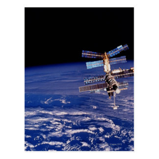 Mir Space Station floating above the Earth Post Cards
