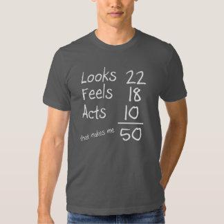Mira, siente, actúa 50.a camiseta del cumpleaños camisas