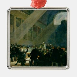 Mirabeau Answering Dreux-Breze Square Metal Christmas Ornament
