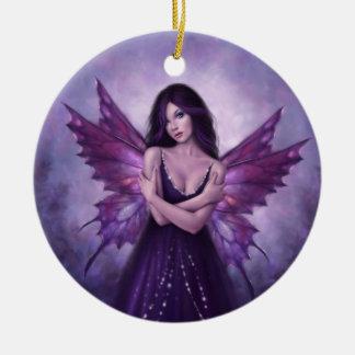 Mirabella Purple Butterfly Fairy Ceramic Ornament