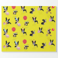 Mirabelle, boston terrier birthday wrapping paper