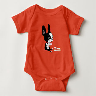 Mirabelle the boston learns her a b c's baby suit. tee shirt