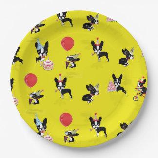 Mirabelle the boston terrier birthday paper plates