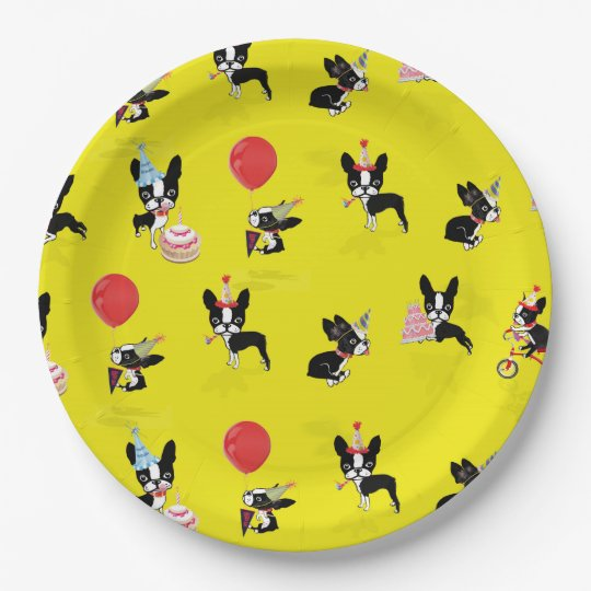 Mirabelle The Boston Terrier Birthday Paper Plates