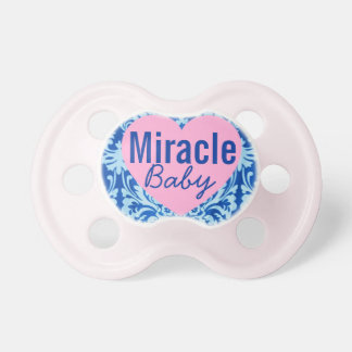"""""""Miracle Baby"""" Pink and Blue Damask Pacifier"""