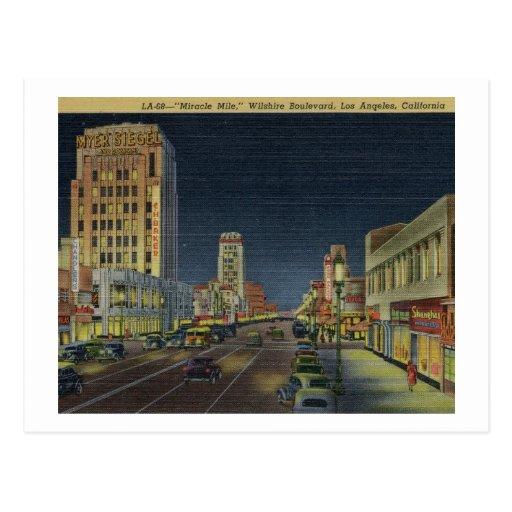Miracle Mile, Wilshire Blvd., Los Angeles Vintage Post Card