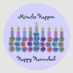 """Miracle of Hannukah Stickers<br><div class=""""desc"""">Graphic illustration of colorful Chanukah flower menorah design.  Light the candles each night and celebrate the miracle of this holiday.</div>"""