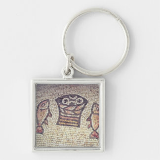 Miracle of the Bread and the Fishes Silver-Colored Square Keychain