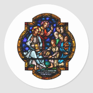 Miracle of the Loaves and Fish Stained Art Classic Round Sticker