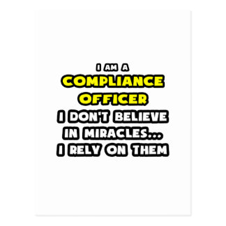 Miracles and Compliance Officer ... Funny Postcard