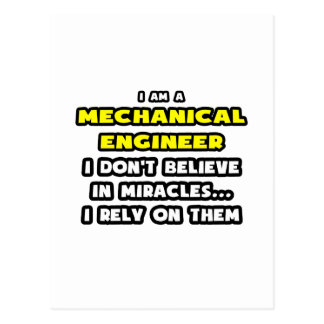 Miracles and Mechanical Engineers ... Funny Postcard