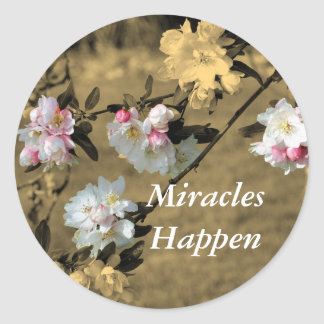 Miracles Happen Blossoms Motivational Sticker