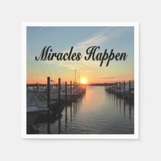 MIRACLES HAPPEN SUNSET PHOTO DESIGN PAPER NAPKIN