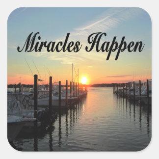 MIRACLES HAPPEN SUNSET PHOTO DESIGN SQUARE STICKER