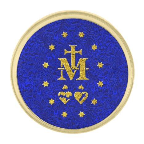 Miraculous Medal reverse symbols Gold Finish Lapel Pin