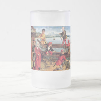 Miraculous salvation of a drowned boy frosted glass beer mug