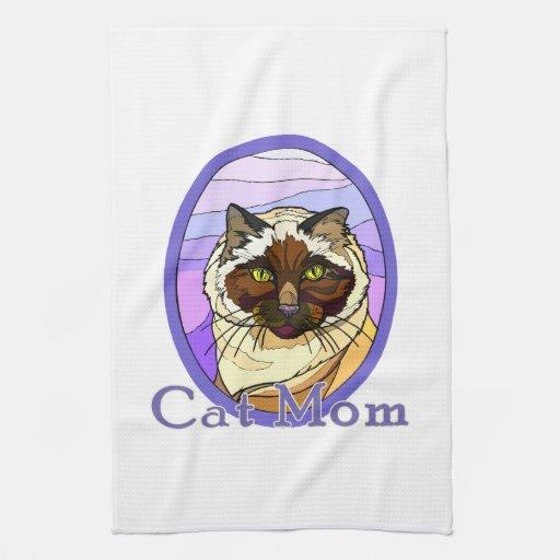 Mirada 2 del vitral de la mamá del gato toallas de cocina