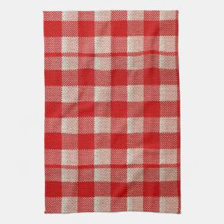 Mirada a cuadros de la arpillera del modelo de la toallas de cocina