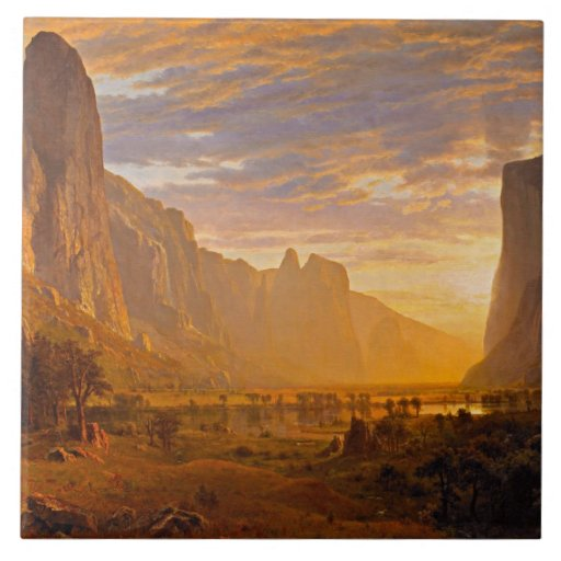 Mirada abajo del valle de Yosemite Azulejo Cuadrado Grande