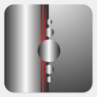 Mirada abstracta del rojo y del metal plateado pegatina cuadrada