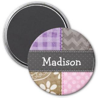 Mirada acolchada rosa clara, púrpura, y de color t imán