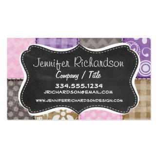 Mirada acolchada rosa clara púrpura y de color t tarjetas de visita