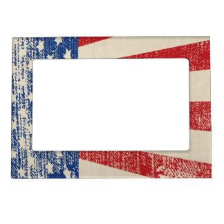 Mirada apenada de la bandera americana marcos magneticos
