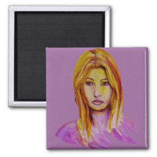 Mirada áspera del retrato de la mujer pintada a ma imán cuadrado