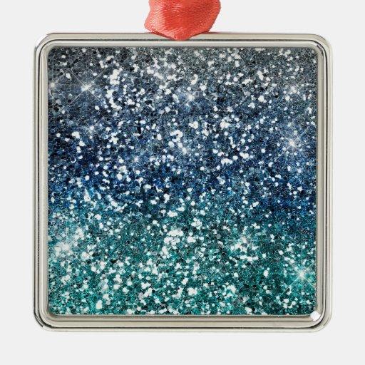 Mirada azul del brillo del trullo de plata adorno navideño cuadrado de metal