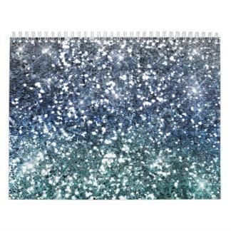 Mirada azul del brillo del trullo de plata calendario
