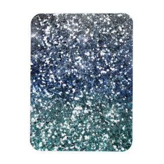 Mirada azul del brillo del trullo de plata iman de vinilo